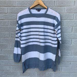 Vince Striped Cotton Crewneck Sweater
